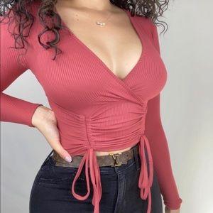 Fashion Nova Brick Ruched Wrap Top